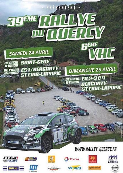 Affiche : 39e Rallye du Quercy + VHC les 24 et 25 avril 2021 !