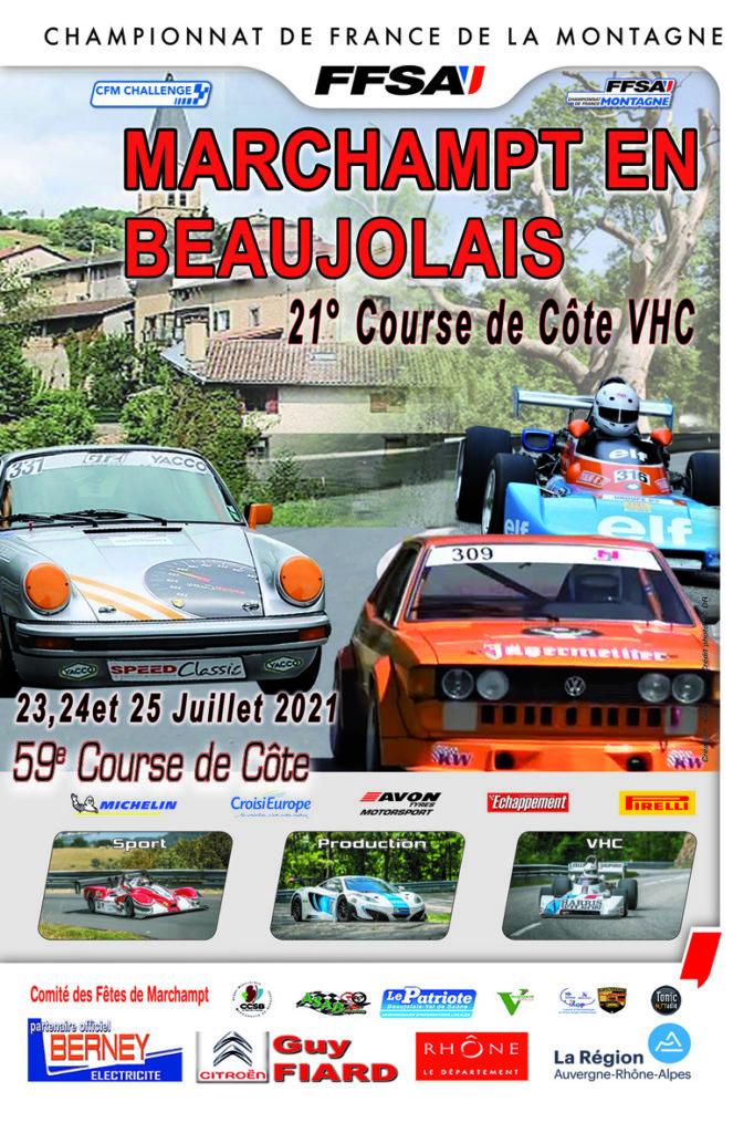 L'affiche de la 59e Course de Côte de Marchampt en Beaujolais